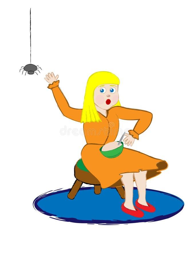 Rima de berçário pequena da senhorita Muffet ilustração royalty free