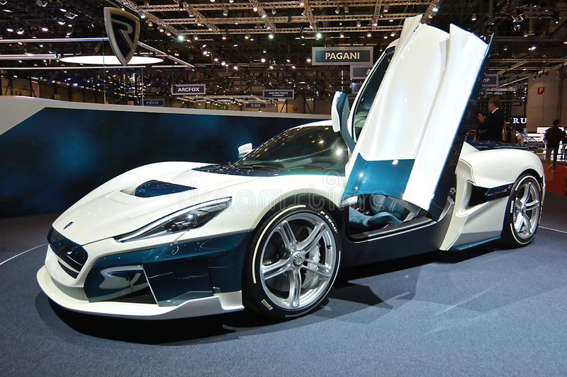 89th Geneva International Motor Show - Rimac C_Two. Rimac, the crazy Croatian company behind the world's most powerful EV, arrived in Geneva with a stock images