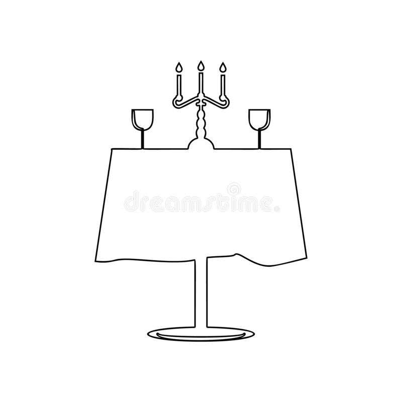 rimantic restaurant table icon. Element of Love for mobile concept and web apps icon. Outline, thin line icon for website design royalty free illustration