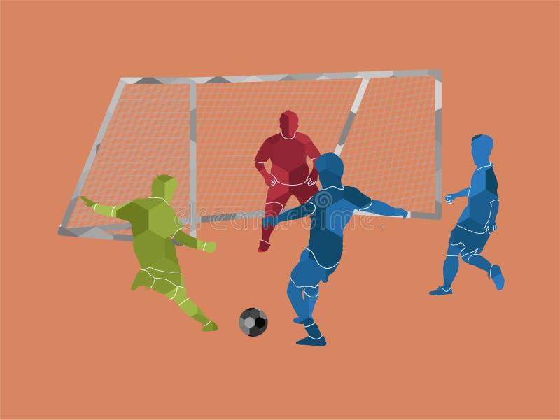 Rimessa da fondo campo geometrica del poligono con il calciatore royalty illustrazione gratis