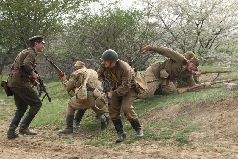 Rimessa in vigore della battaglia di WWII a Orechov fotografie stock libere da diritti