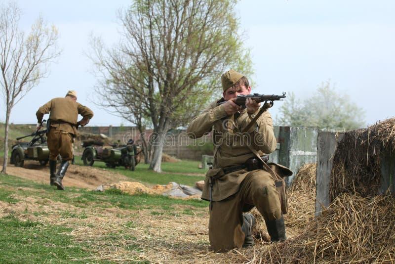 Rimessa in vigore della battaglia di WWII a Orechov immagini stock libere da diritti