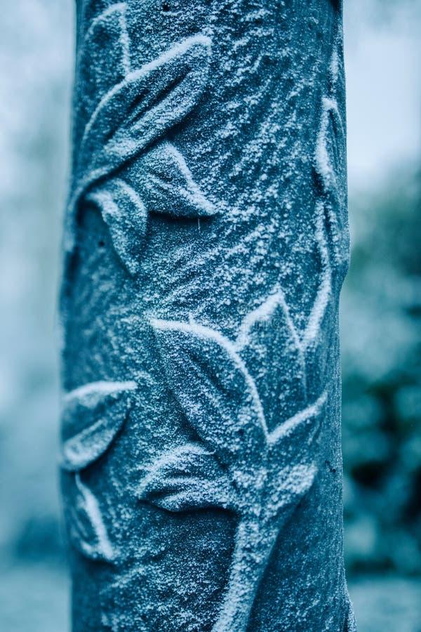 Rimfrost på prydnaden för gataljus royaltyfri foto