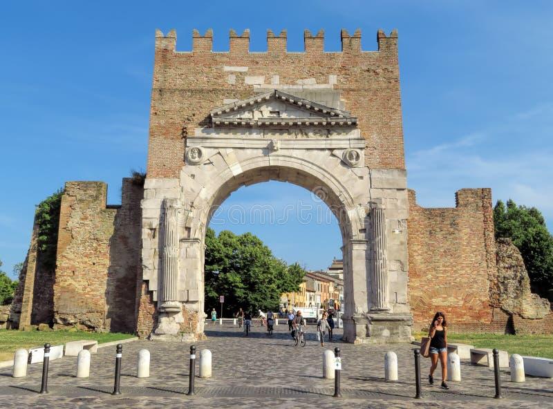Rimini - Augustus Arch fotografia de stock
