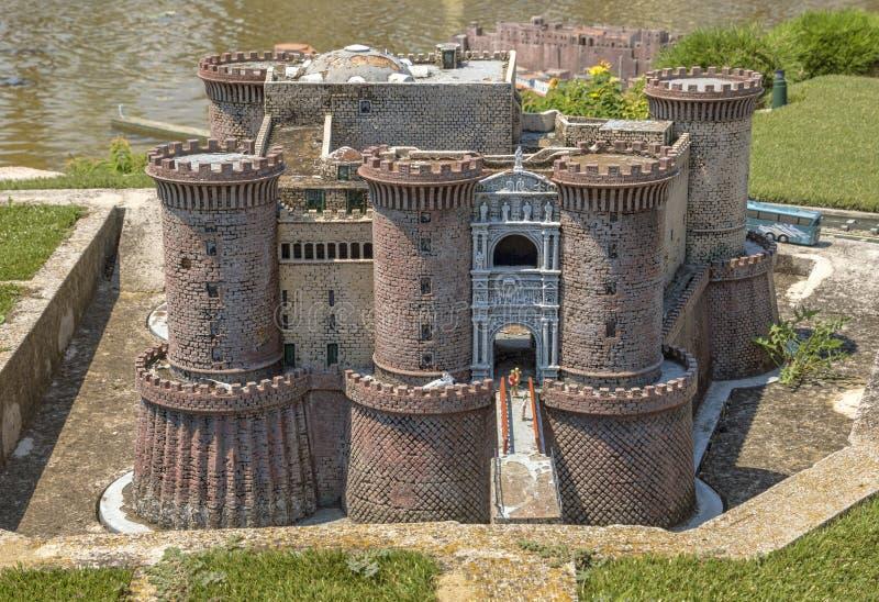 Rimini - Castle Nuovo. Rimini, Italy - June 13, 2017: Castle Nuovo in Naples in the theme park `Italy in miniature` Italia in miniature stock photos