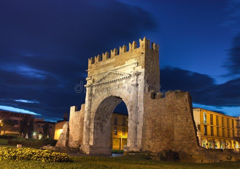 Rimini, o arco de Augustus fotos de stock
