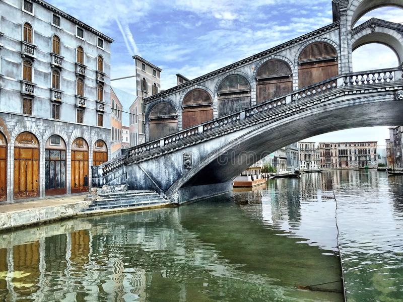 Rimini Park with Venice in miniature. Reproduction of Venice in the Italian amusement park at Viserba, part of Rimini, showing the bridge and canal in 'Italia in royalty free stock photography