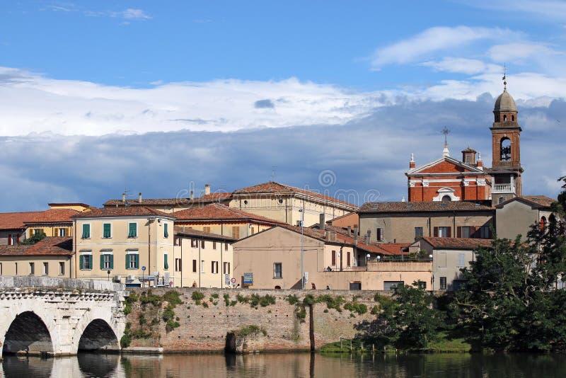 Rimini stary grodzki pejzaż miejski zdjęcie stock
