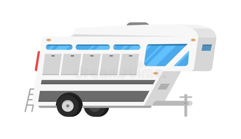Rimorchi o caravan di campeggio della famiglia rv Bus turistico e tenda per ricreazione ed il viaggio all'aperto Camion della cas illustrazione di stock