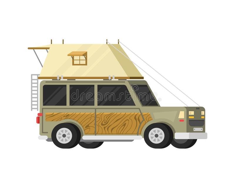 Rimorchi o caravan di campeggio della famiglia rv Bus turistico e tenda per ricreazione ed il viaggio all'aperto Camion della cas royalty illustrazione gratis