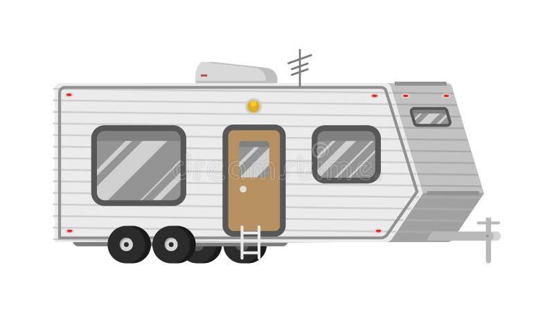 Rimorchi o caravan di campeggio della famiglia rv Bus turistico e tenda per ricreazione ed il viaggio all'aperto Camion della cas illustrazione vettoriale