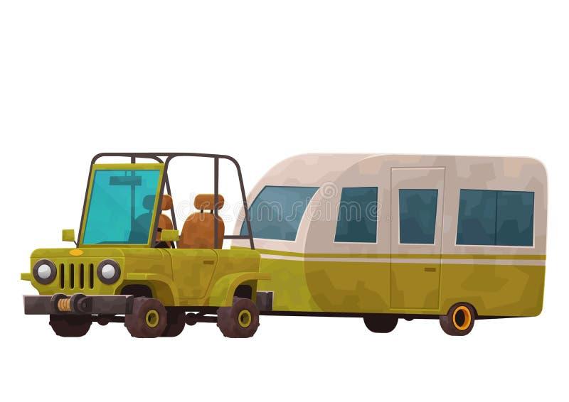 Rimorchio di campeggio con l'automobile isolata su fondo bianco royalty illustrazione gratis