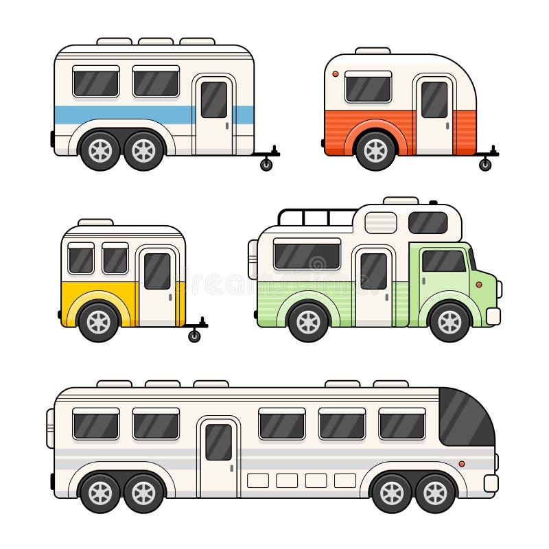 Rimorchio di campeggio del caravan messo su fondo bianco Vettore illustrazione vettoriale