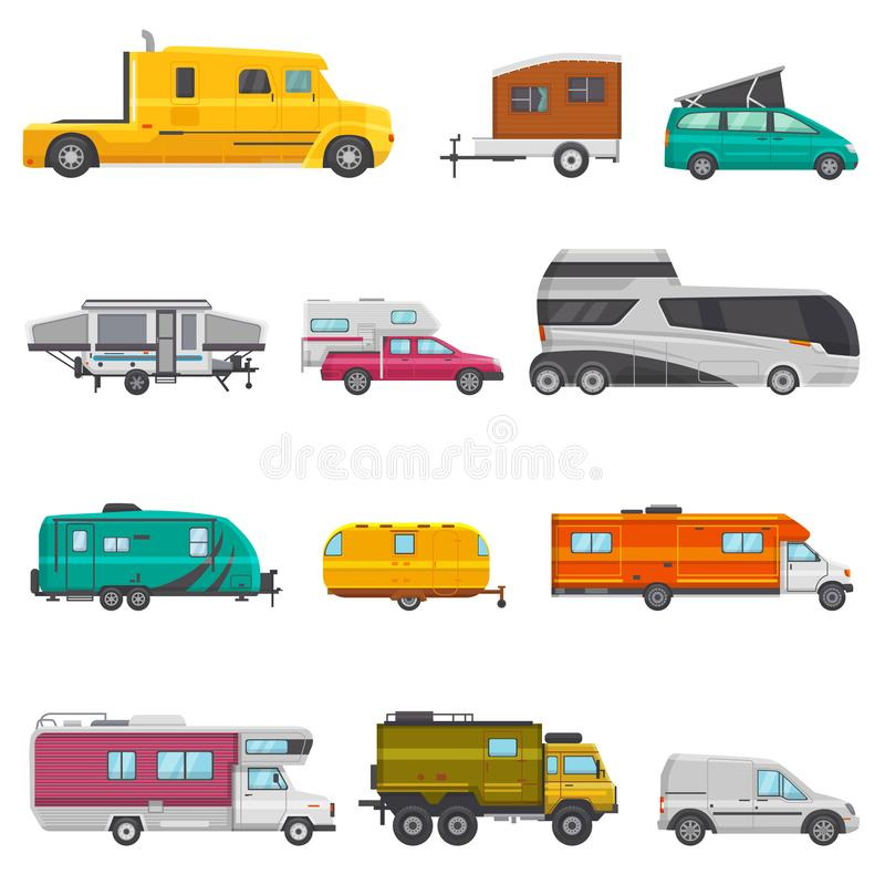 Rimorchio di campeggio di vettore del caravan e veicolo caravanning di rv per l'insieme trasportabile dell'illustrazione di viagg royalty illustrazione gratis