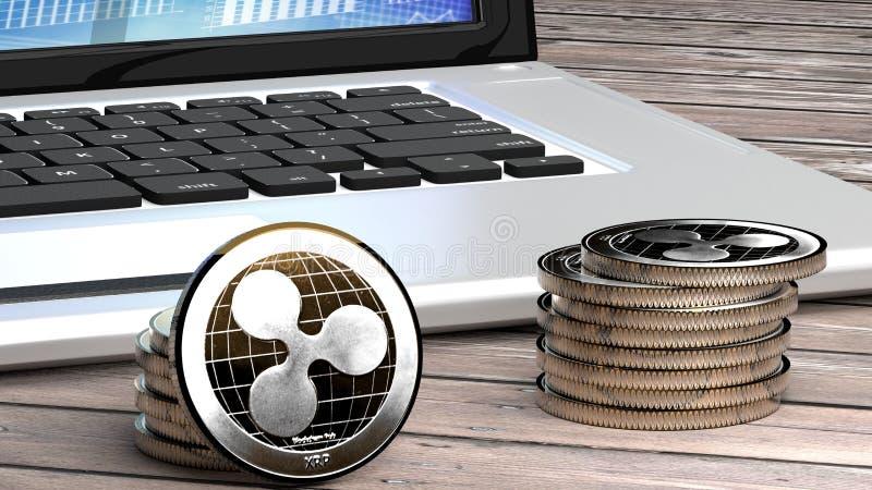 Rimpelingsclose-up, cyber geld, digitale munt vector illustratie