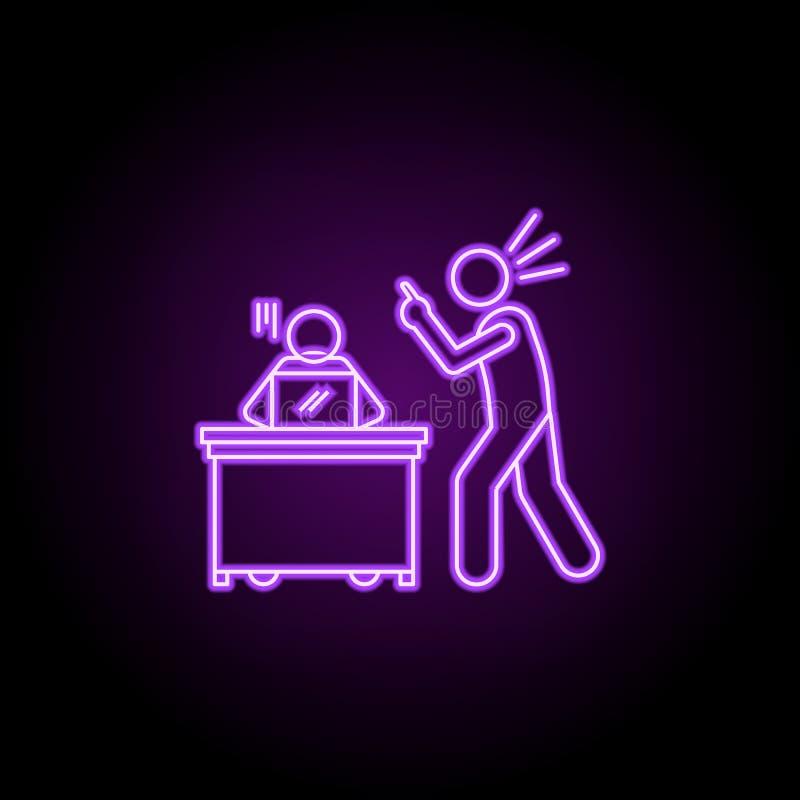 rimproverato dall'icona al neon del capo Elementi della gente nell'insieme del lavoro E immagini stock libere da diritti