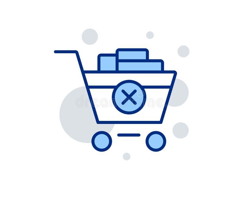 Rimuova la linea icona del carrello Acquisto online Vettore illustrazione di stock