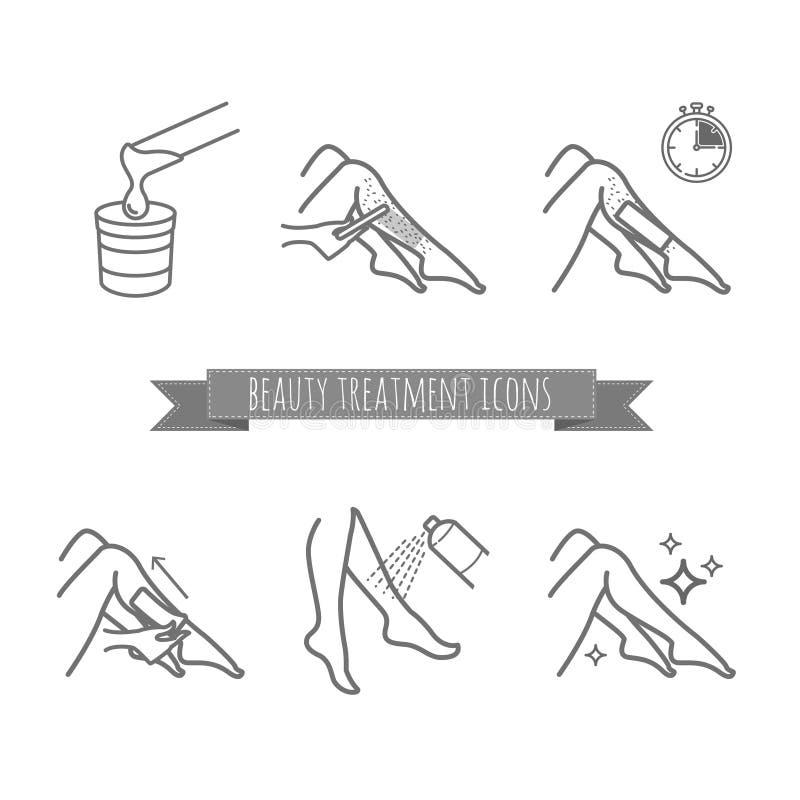 Rimuovendo i capelli della gamba usando la cera della striscia o di zucchero Icone di trattamento di bellezza messe illustrazione vettoriale