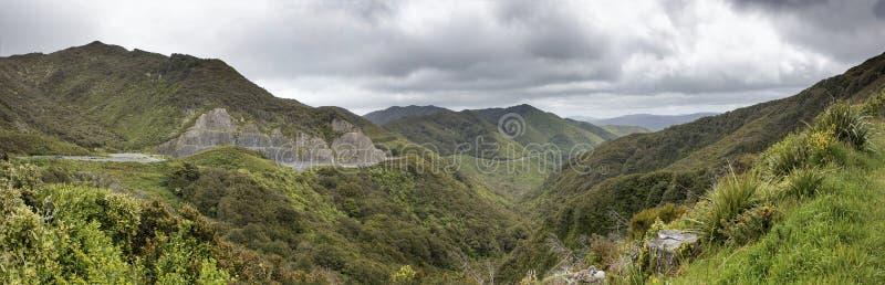 Rimutaka小山路, Wairarapa,新西兰全景  免版税库存照片