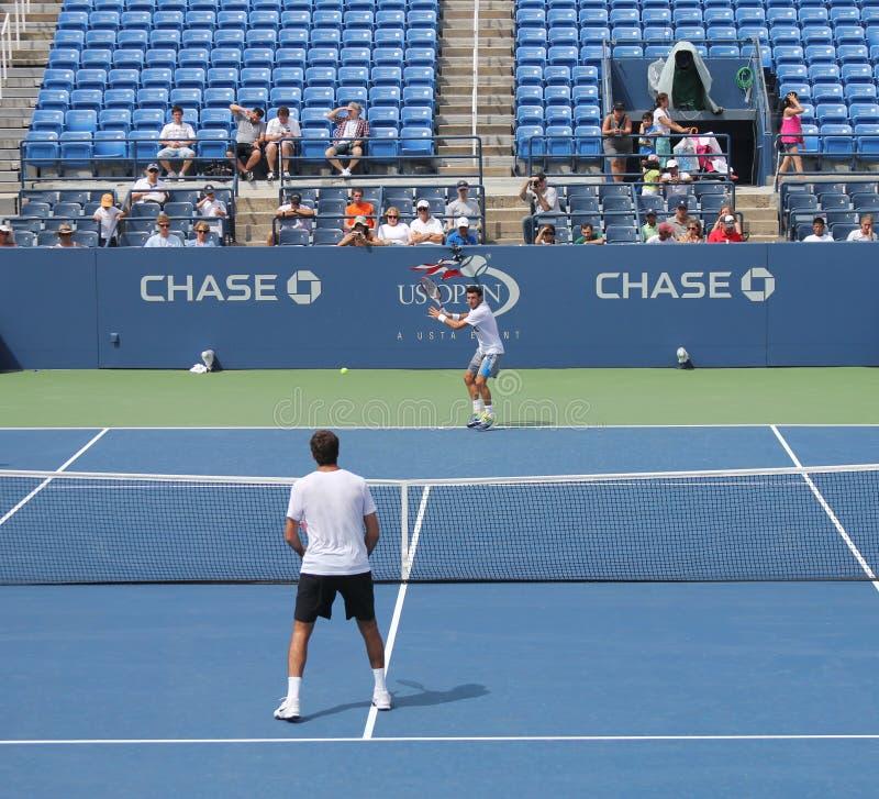 Le joueur de tennis professionnel Anastasia Pavlyuchenkova pratique pour l'US Open au Roi National Tennis Center de Billie Jean image stock
