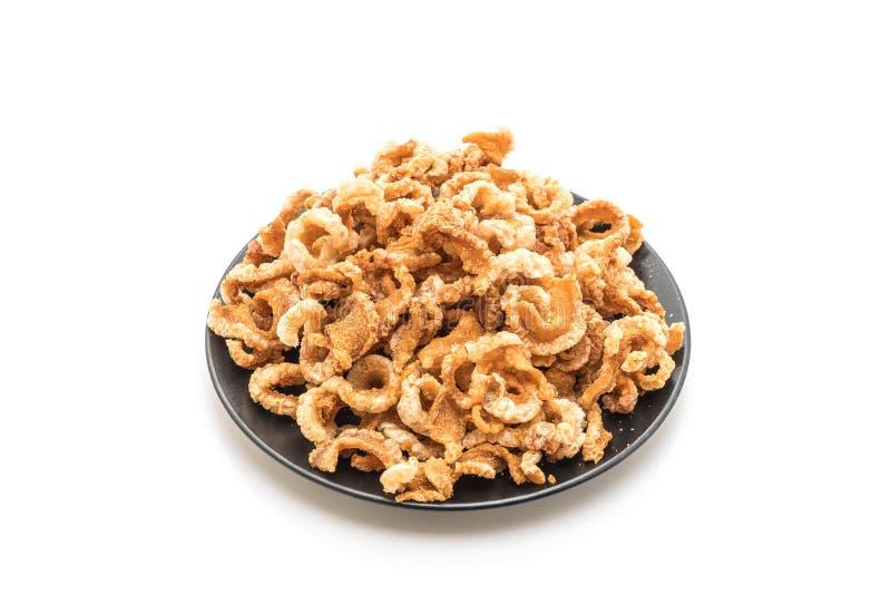 Rince de porc ou casse-croûte frit de porc avec les piments verts thaïlandais du nord D photo stock