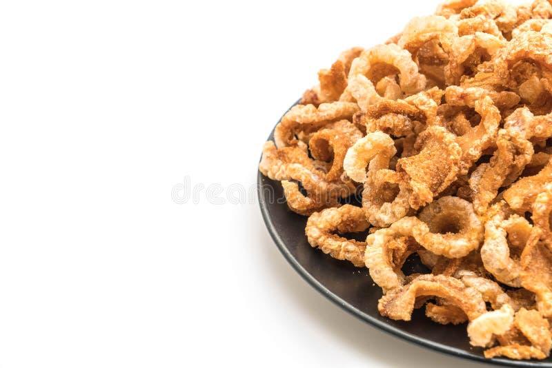 Rince de porc ou casse-croûte frit de porc avec les piments verts thaïlandais du nord D photos stock