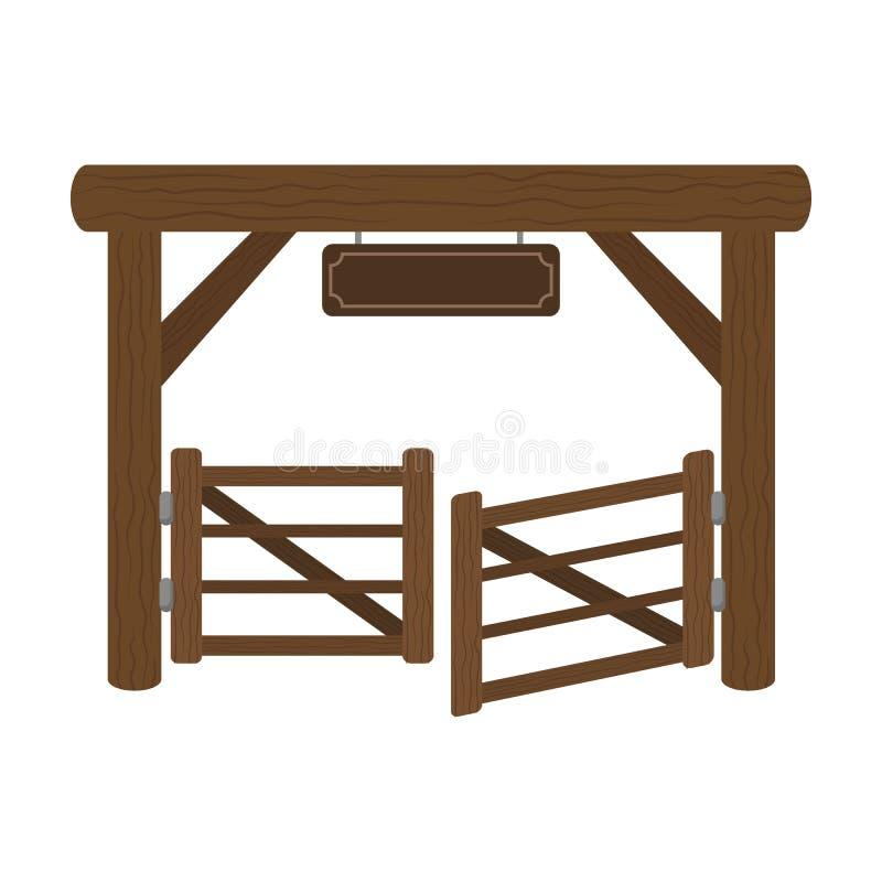 Rinchiuda l'icona del portone nello stile del fumetto isolata su fondo bianco Illustrazione di vettore delle azione di simbolo de illustrazione vettoriale