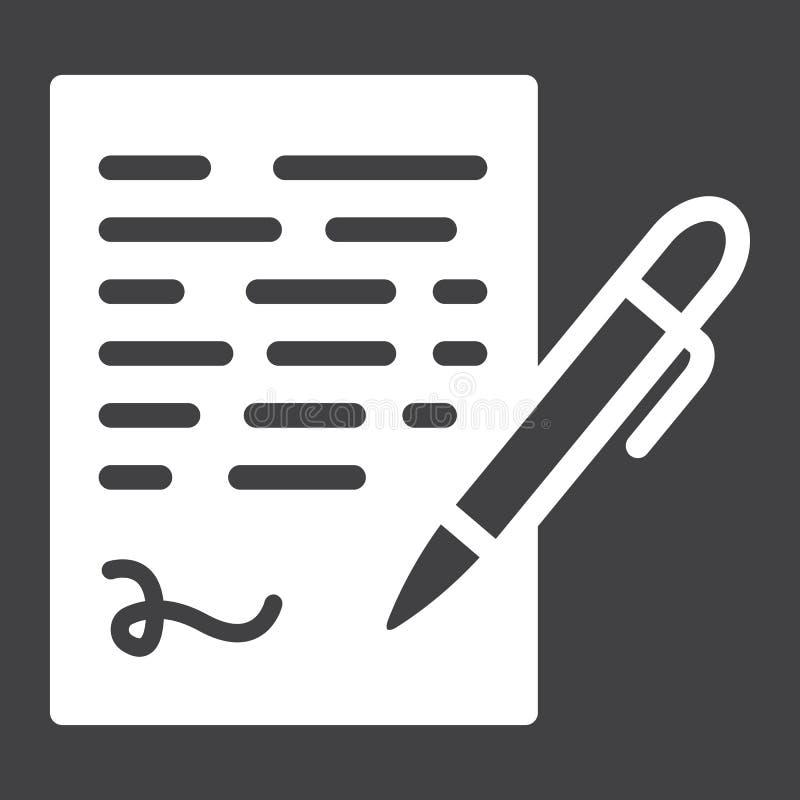 Rinchiuda l'icona solida di firma, segno del contratto di affari illustrazione vettoriale