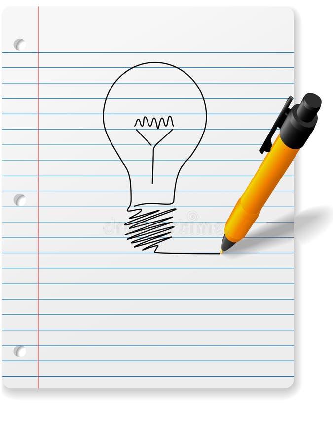 Rinchiuda la lampadina di GRANDE IDEA dell'illustrazione sul documento del taccuino