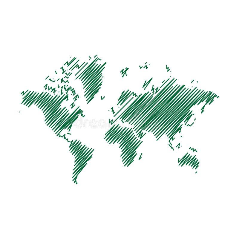 Rinchiuda lo schizzo di arte, il disegno, la mappa di mondo, illustrazione, illustrazione vettoriale