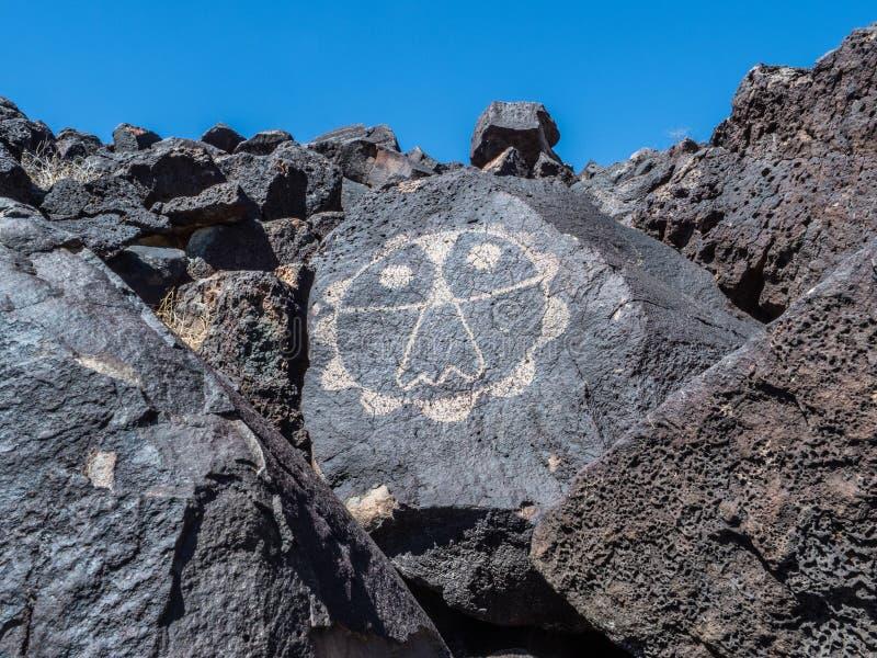 Rinconada kanjonPetroglyph royaltyfria foton