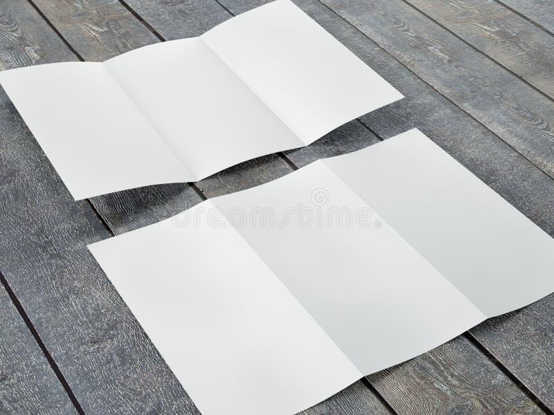 Rinda de plantilla en blanco del tamaño triple del prospecto A4 ilustración del vector