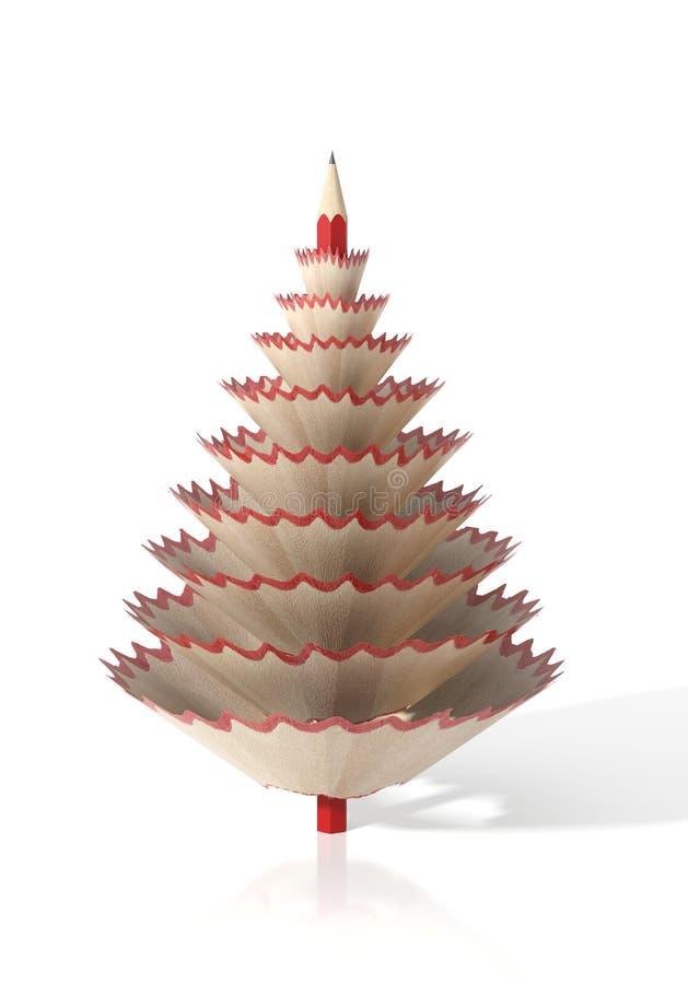 Rinda de un árbol hecho con un lápiz y sus virutas de madera stock de ilustración