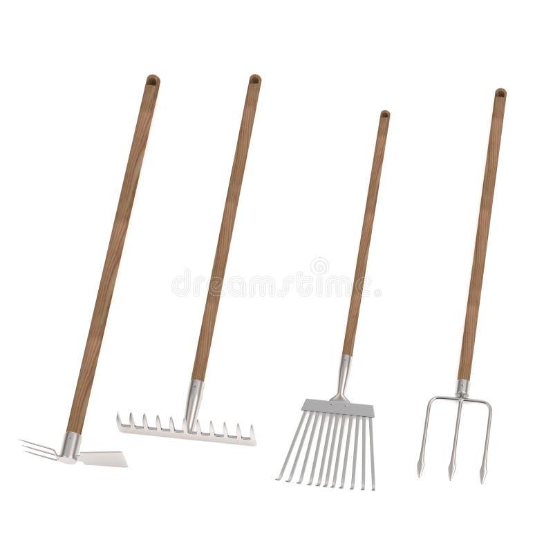 Rinda de 4 utensilios de jardinería stock de ilustración