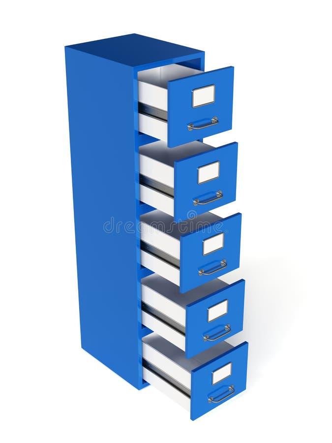 Rinda del cajón de fichero aislado en el fondo blanco Almacenamiento concentrado ilustración del vector