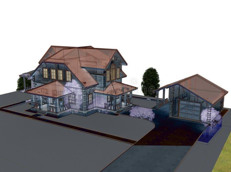 Rinda la cabaña 3d con un tejado azul stock de ilustración