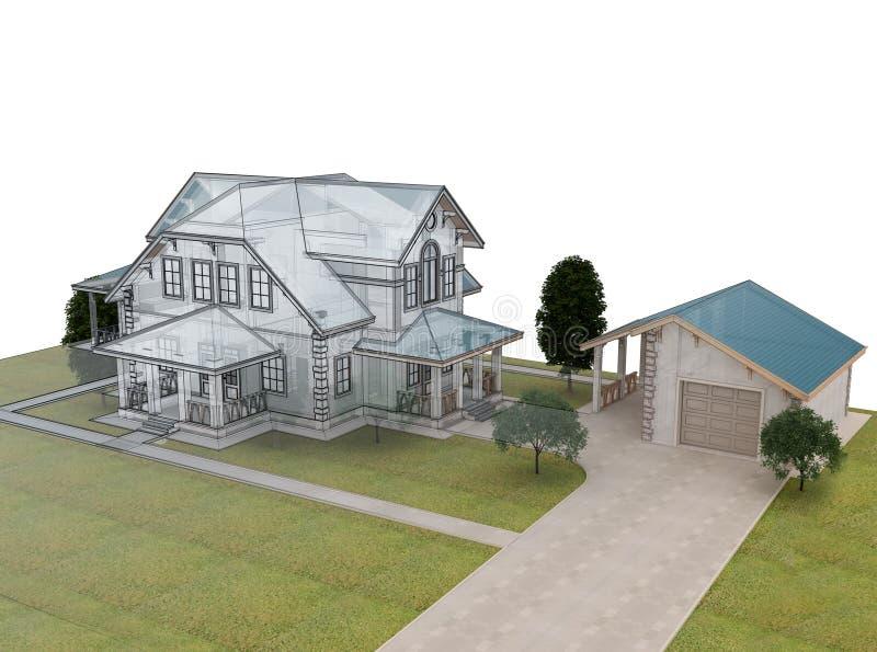 Rinda la cabaña 3d con un tejado azul libre illustration