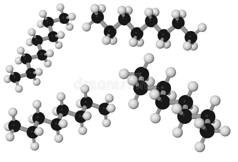 Molécula del octano imágenes de archivo libres de regalías