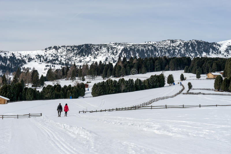 RINDERPLATZ, SOUTH TYROL/ITALY - MARCH 27 : Couple Walking on th stock image
