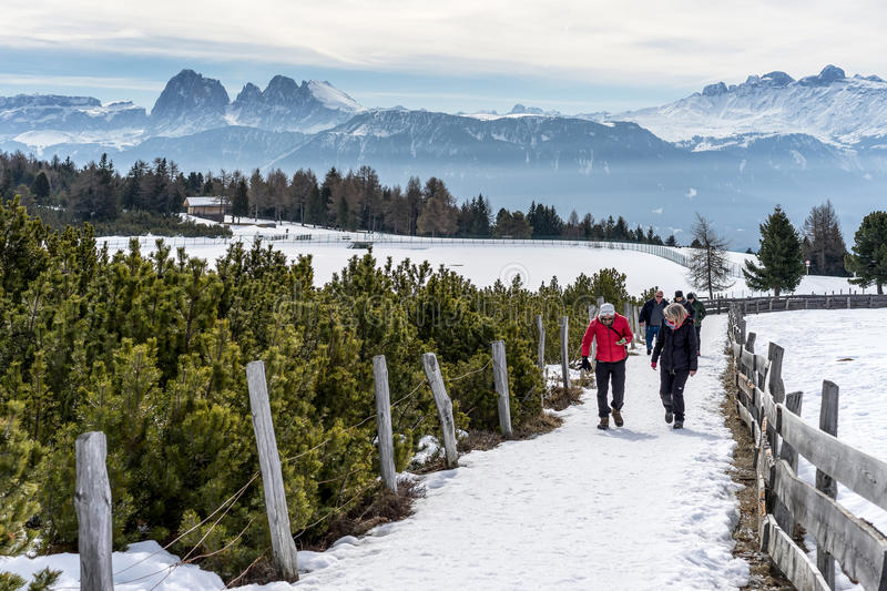 RINDERPLATZ, SOUTH TYROL/ITALY - MARCH 27 : People Walking on th stock photos
