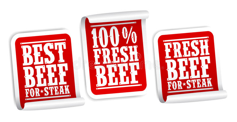 Rindfleisch für Steakaufkleber lizenzfreie abbildung
