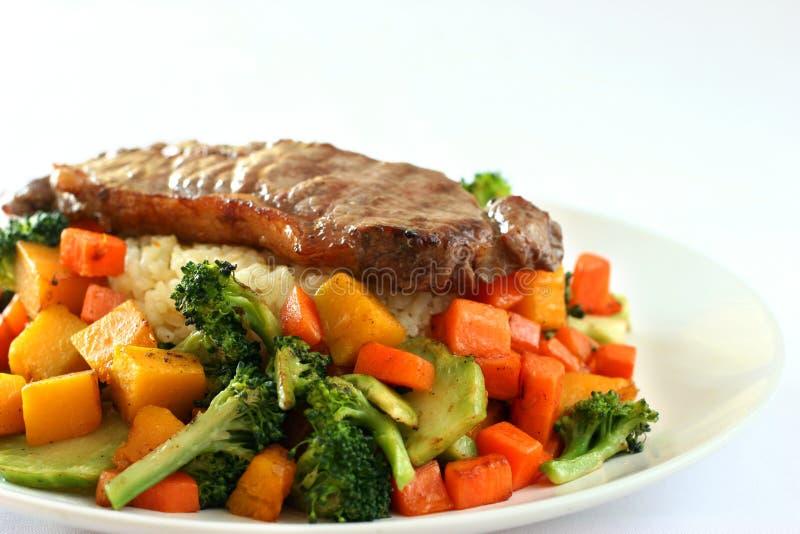 Rindfleisch u. Reis lizenzfreies stockbild