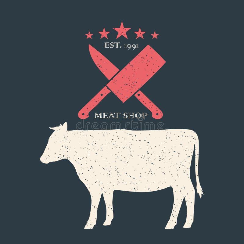 rindfleisch Weinleseplakat für SchlächtereiMetzgerei Logo, Retro- Druck, Biohofprodukte Rindfleischschattenbild Logoschablone lizenzfreie abbildung