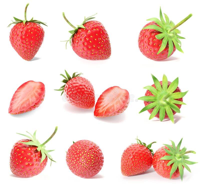 Rindiendo un sistema, colección de frutas frescas de la fresa aisladas en el fondo blanco imágenes de archivo libres de regalías