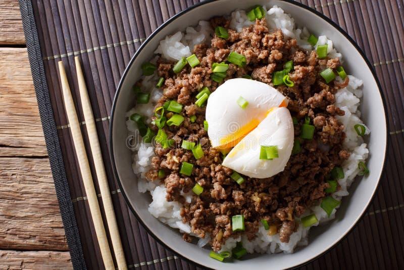 Rinforzi Soboro con l'uovo primo piano affogato, del riso e della cipolla verde Hotepibtawy fotografie stock