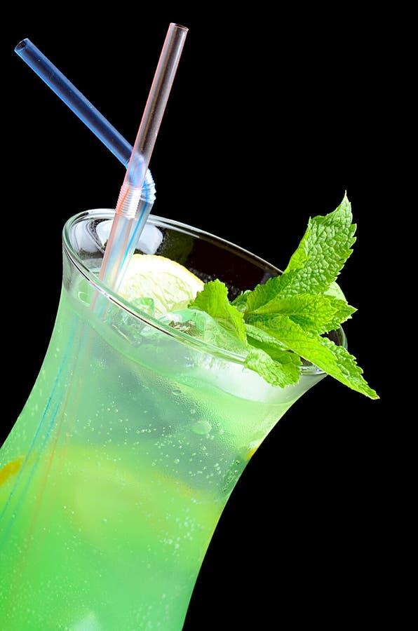 Rinfrescare cocktail con ghiaccio e la menta immagine stock