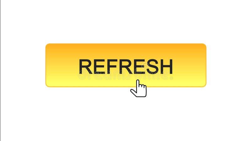 Rinfreschi il bottone dell'interfaccia di web cliccato con il cursore del topo, il colore arancio, innovazione illustrazione vettoriale