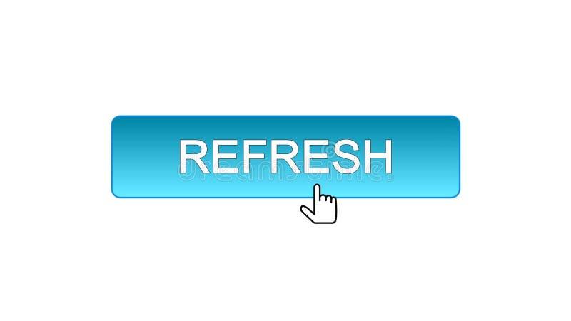 Rinfreschi il bottone dell'interfaccia di web cliccato con il cursore del topo, il colore blu, innovazione illustrazione di stock