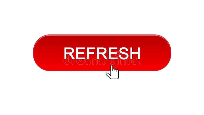 Rinfreschi il bottone dell'interfaccia di web cliccato con il cursore del topo, il colore rosso, innovazione illustrazione di stock