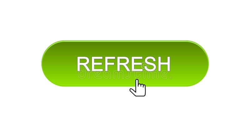 Rinfreschi il bottone dell'interfaccia di web cliccato con il cursore del topo, il colore verde, innovazione illustrazione vettoriale